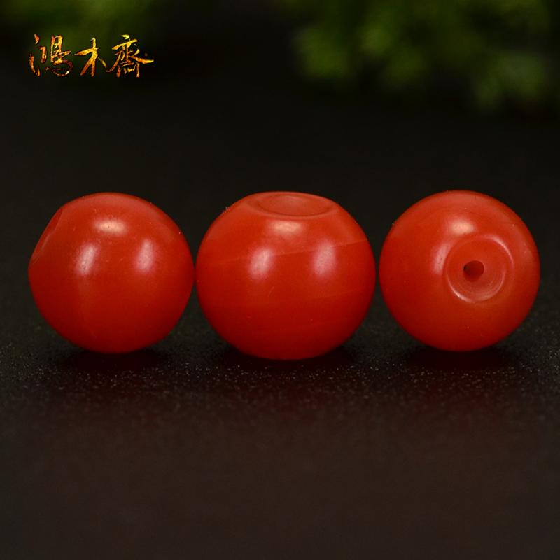 鸿木斋 天然保山南红散珠 柿子红 南红顶珠腰珠 孤品N3608 (3).JPG