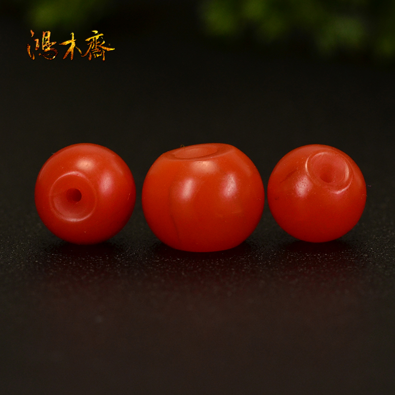 鸿木斋 天然保山南红散珠 柿子红 南红顶珠腰珠 孤品N3609 (5).JPG