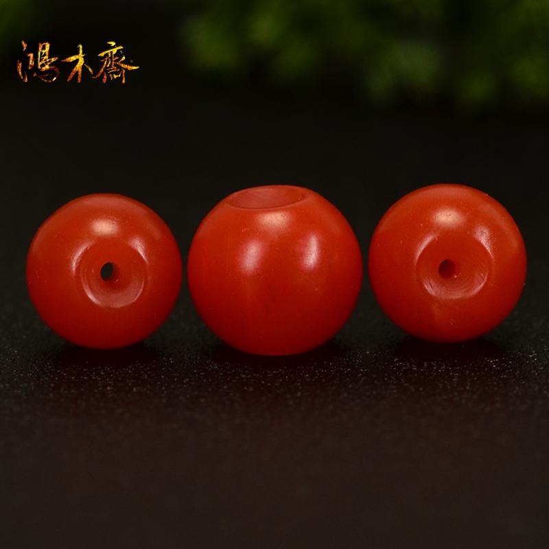 鸿木斋 天然保山南红散珠 柿子红 南红顶珠腰珠 孤品N3607 (5).JPG