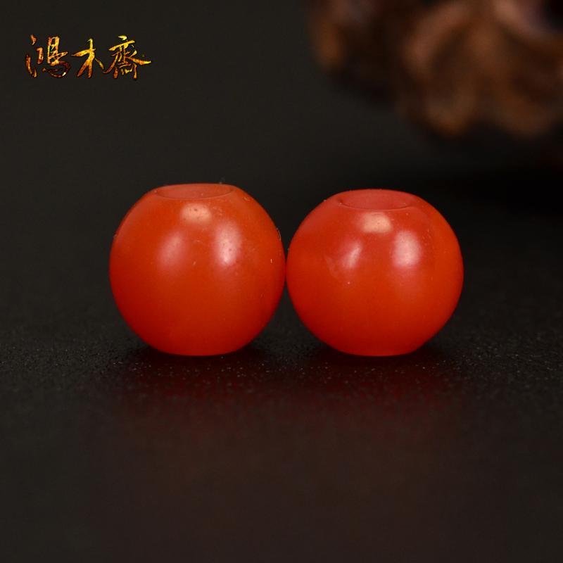 鸿木斋 南红玛瑙散珠 天然保山南红柿子红 南红腰珠 孤品N3610 (2).JPG