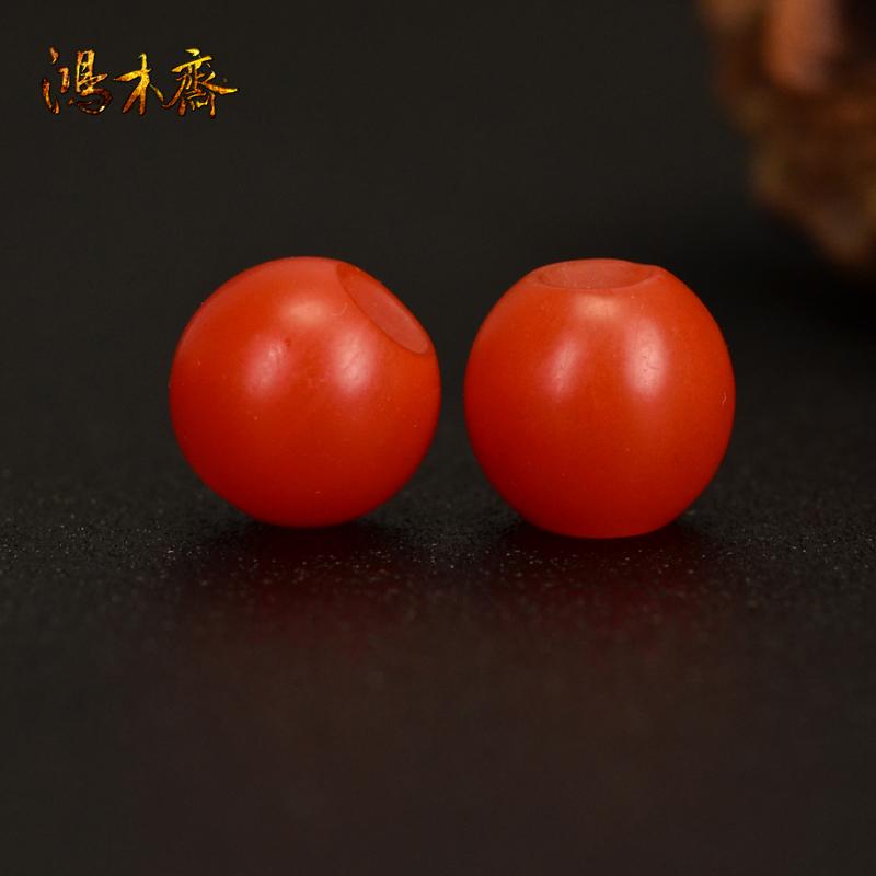 鸿木斋 南红玛瑙散珠 天然保山南红柿子红 南红腰珠 孤品N3611 (2).JPG