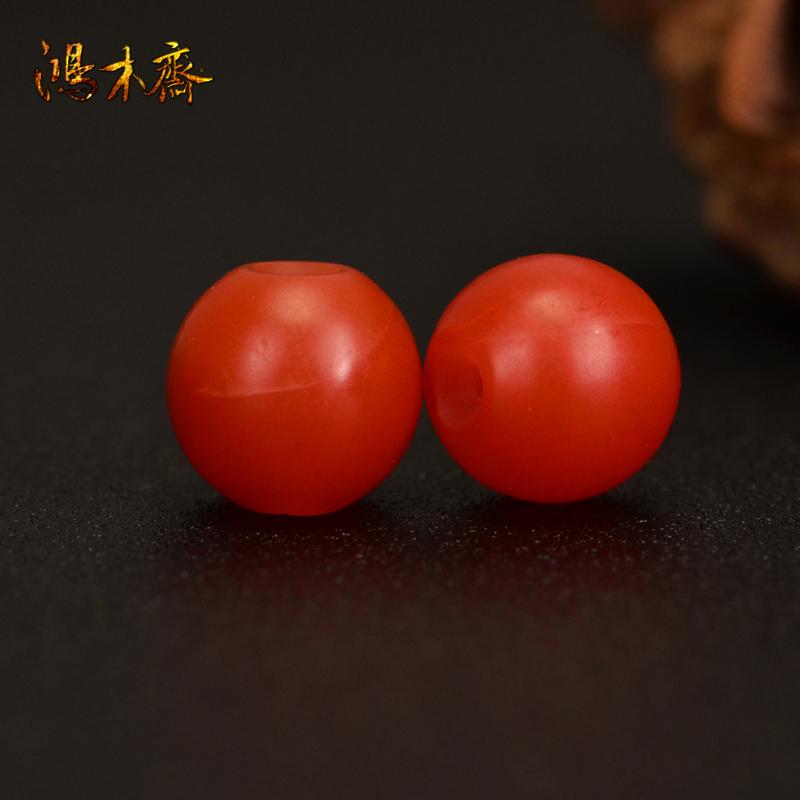 鸿木斋 南红玛瑙散珠 天然保山南红柿子红 南红腰珠 孤品N3612 (2).JPG