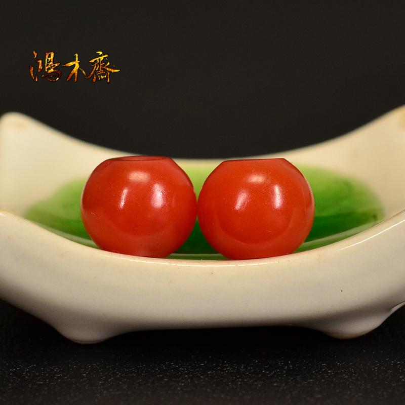 鸿木斋 保山南红腰珠 天然柿子红 南红散珠 孤品N3616 (3).JPG