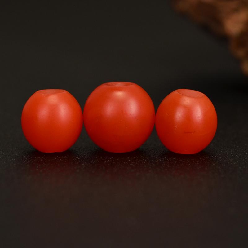 鸿木斋 天然保山南红散珠 柿子红 南红顶珠腰珠 孤品N3615 (5).JPG