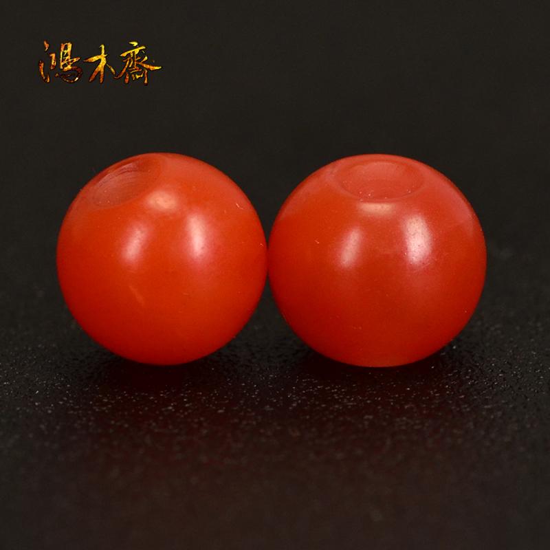 鸿木斋 保山南红腰珠 天然柿子红 南红散珠 孤品N3617 (2).JPG