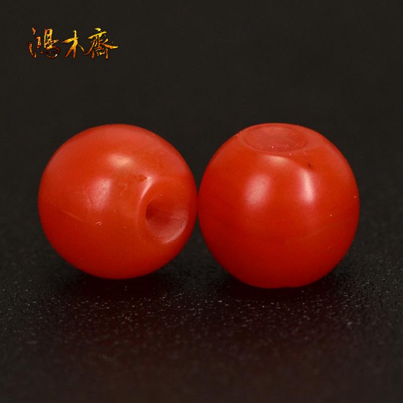 鸿木斋 保山南红腰珠 天然柿子红 南红散珠 孤品N3619 (2).JPG