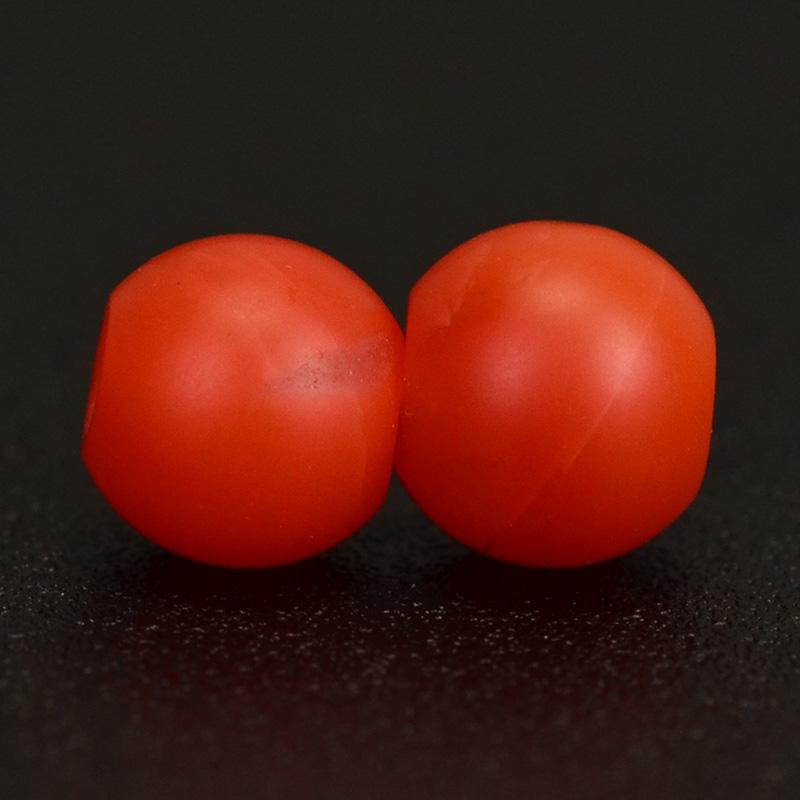 鸿木斋 天然保山南红 柿子红 南红玛瑙腰珠 孤品N3622 (5).JPG