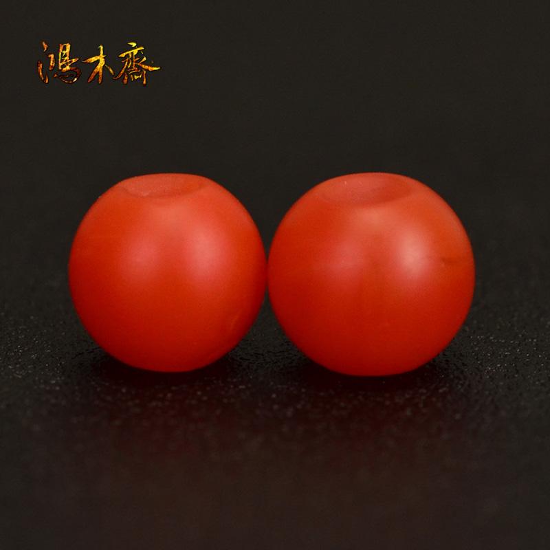 鸿木斋 天然保山南红 柿子红 南红玛瑙腰珠 孤品N3622 (2).JPG