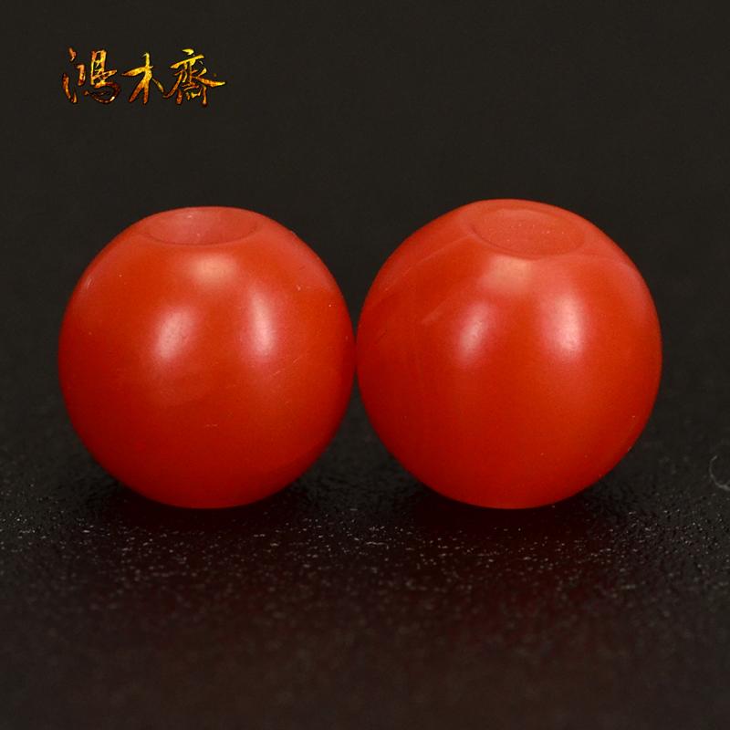 鸿木斋 保山南红腰珠 天然柿子红 南红散珠 孤品N3620 (2).JPG
