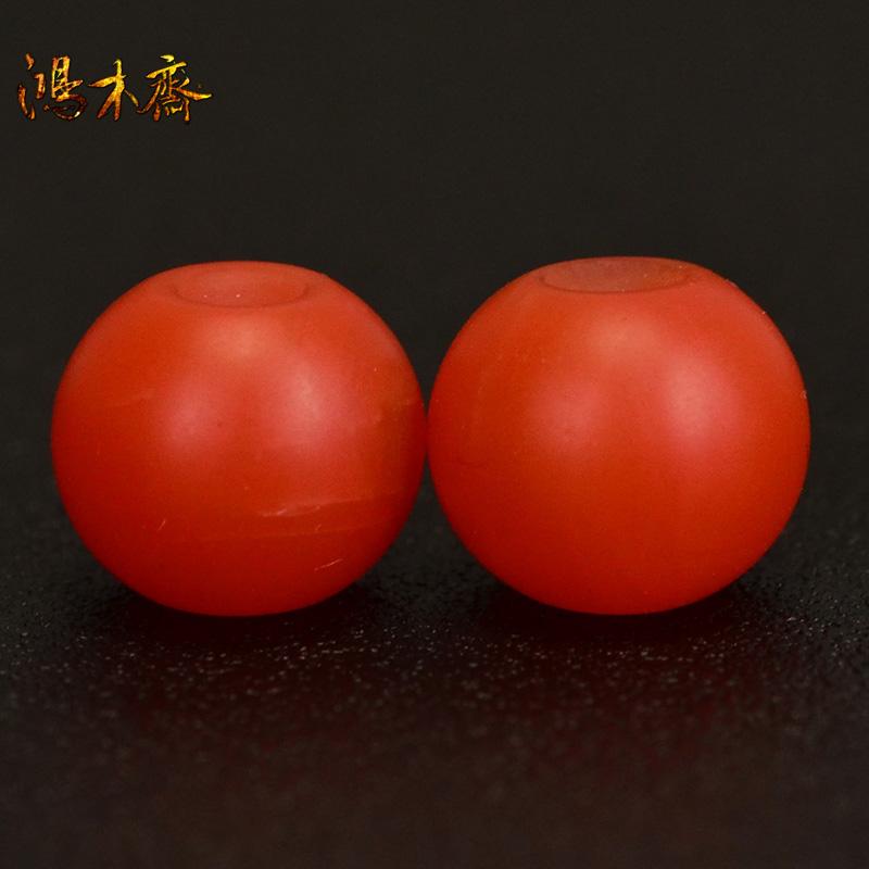 鸿木斋 天然保山南红 柿子红 南红玛瑙腰珠 孤品N3625 (2).JPG