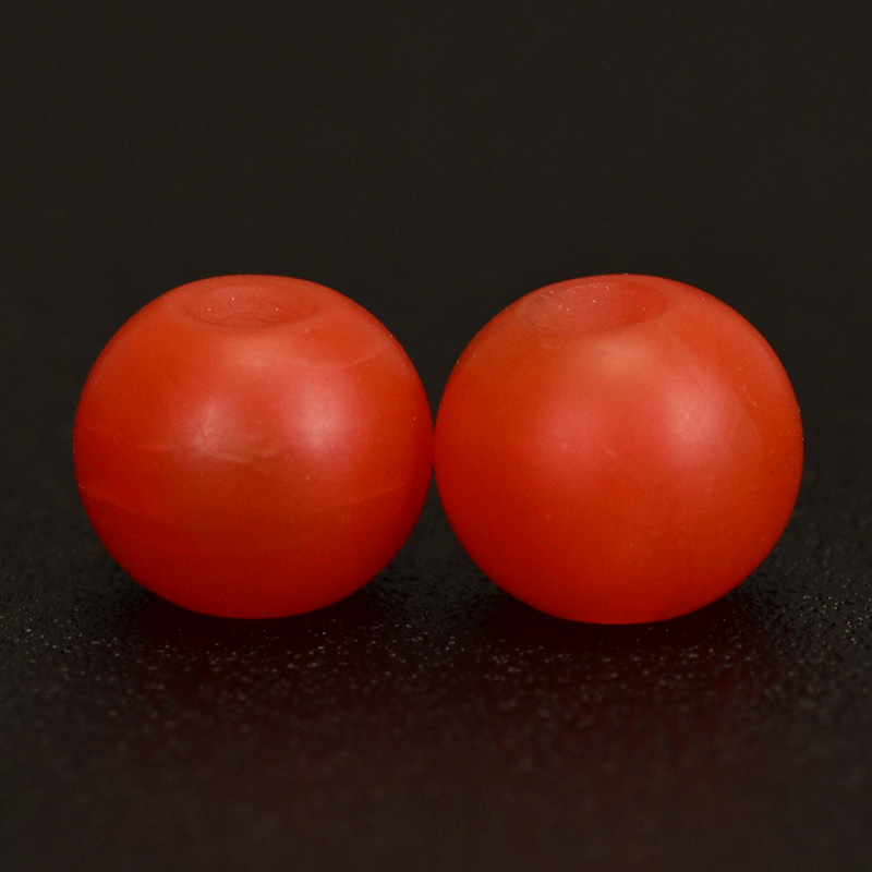鸿木斋 天然保山南红 柿子红 南红玛瑙腰珠 孤品N3625 (3).JPG
