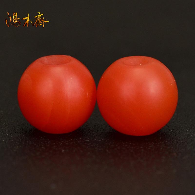 鸿木斋 天然保山南红 柿子红 南红玛瑙腰珠 孤品N3626 (2).JPG