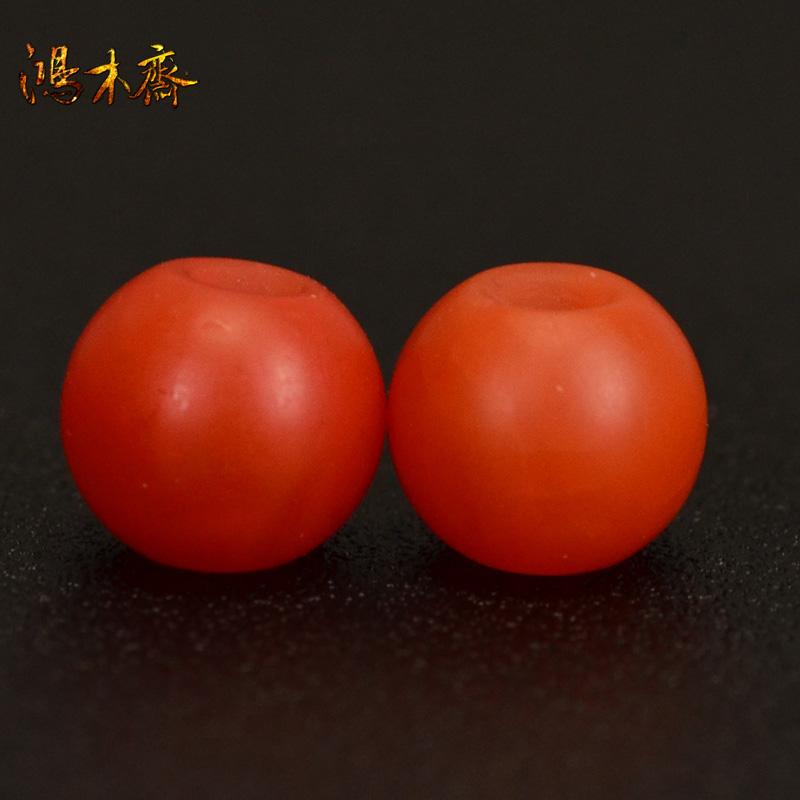 鸿木斋 天然保山南红 柿子红 南红玛瑙腰珠 孤品N3623 (2).JPG