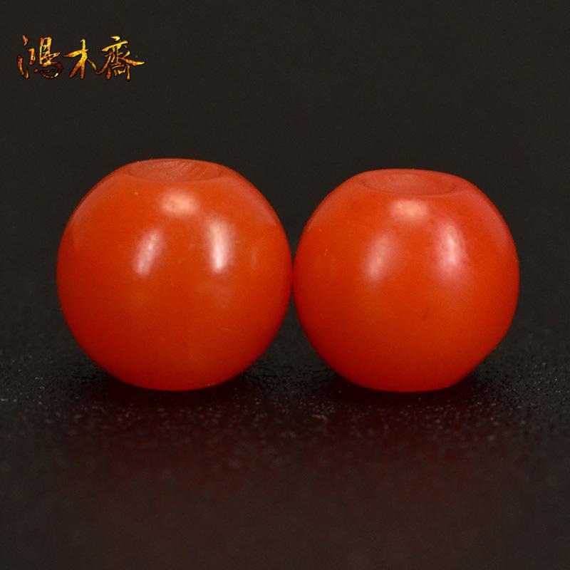 鸿木斋 南红腰珠 天然保山南红柿子红 南红散珠 孤品N3628 (2).JPG