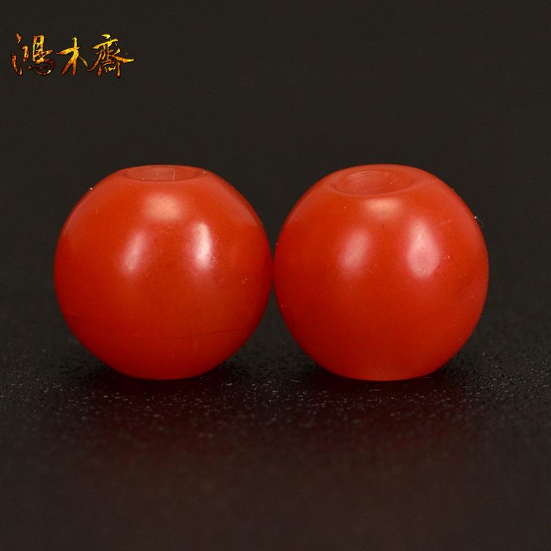 鸿木斋 南红腰珠 天然保山南红柿子红 南红散珠 孤品N3631 (2).JPG
