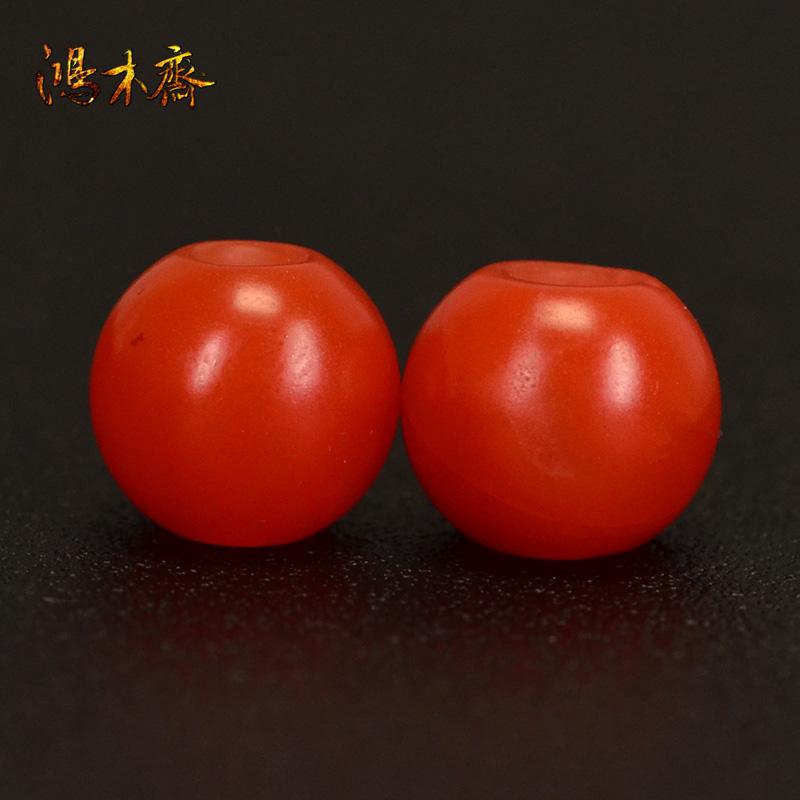 鸿木斋 南红腰珠 天然保山南红柿子红 南红散珠 孤品N3629 (2).JPG