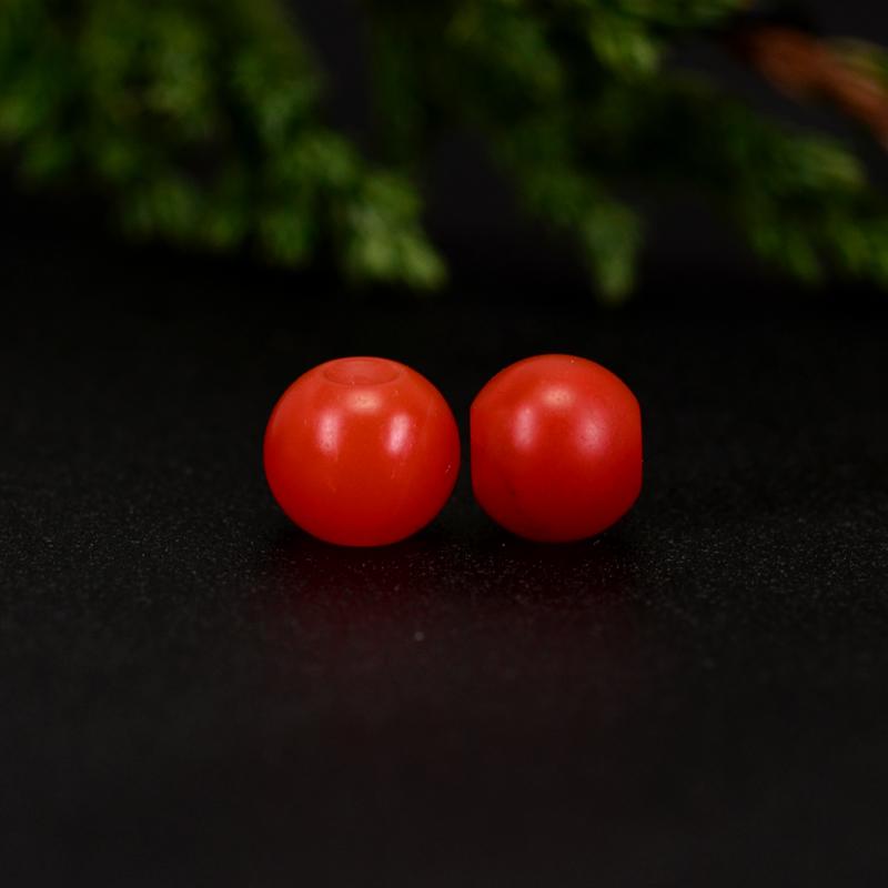 鸿木斋 保山南红散珠 天然柿子红满色满肉 南红腰珠 孤品N3646 (2).JPG