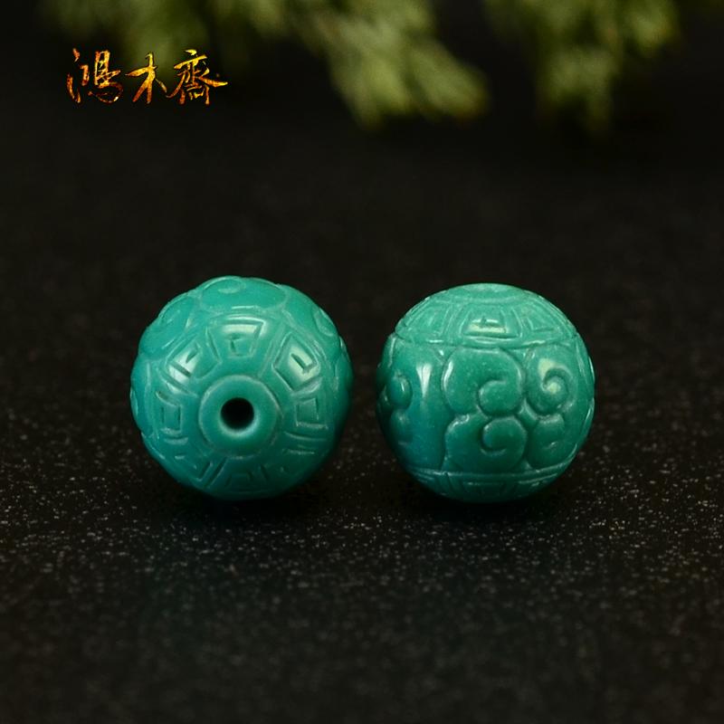 鸿木斋 天然绿松石散珠丫角山玉化料回纹珠S1023 (2).JPG