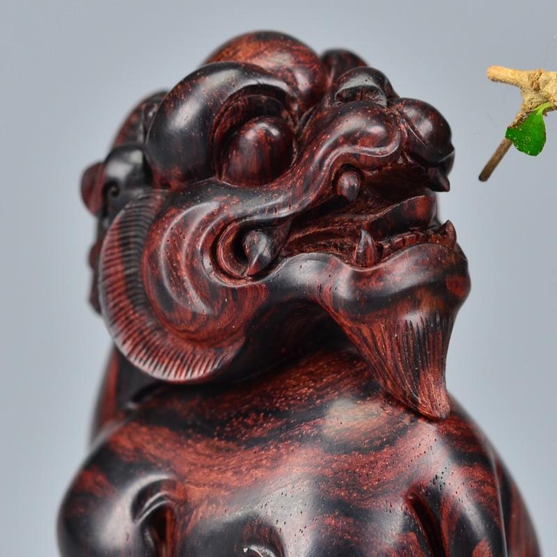 鸿木斋 黄花梨雕刻3寸回头望月貔貅H6248 (4).JPG