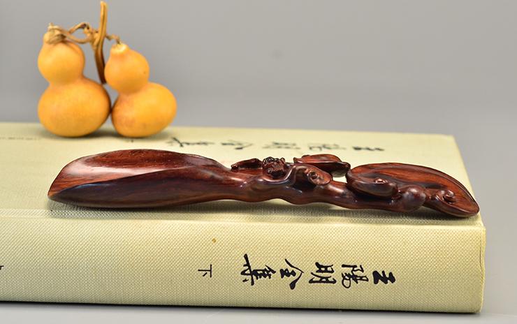 鸿木斋 海南黄花梨把件海黄茶勺HZL7129 (6).JPG