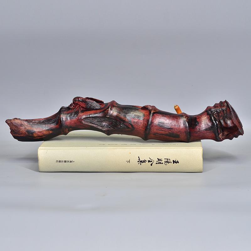 鸿木斋 海南黄花梨雕刻寒蝉抱枯木H7163 (3).JPG