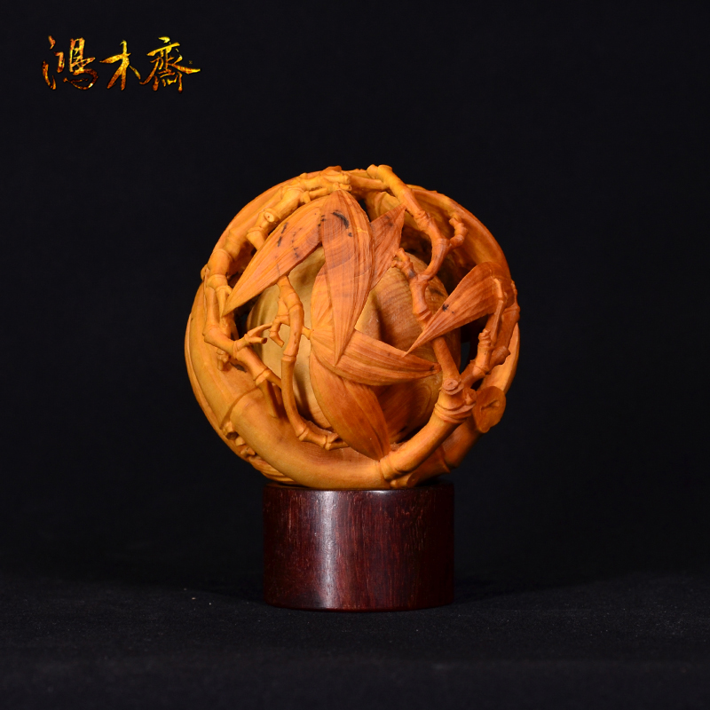 鸿木斋雕刻黄杨木雕刻 竹球HY06 (4).JPG