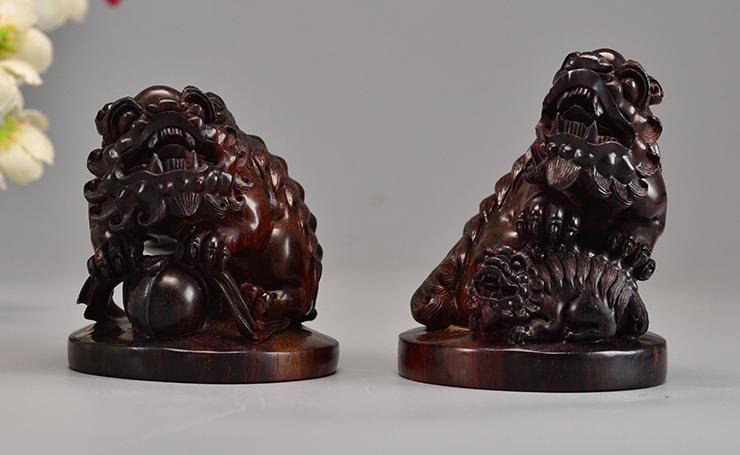 鸿木斋 小叶紫檀雕刻对狮紫檀老料把件孤品Z1580 (11).JPG