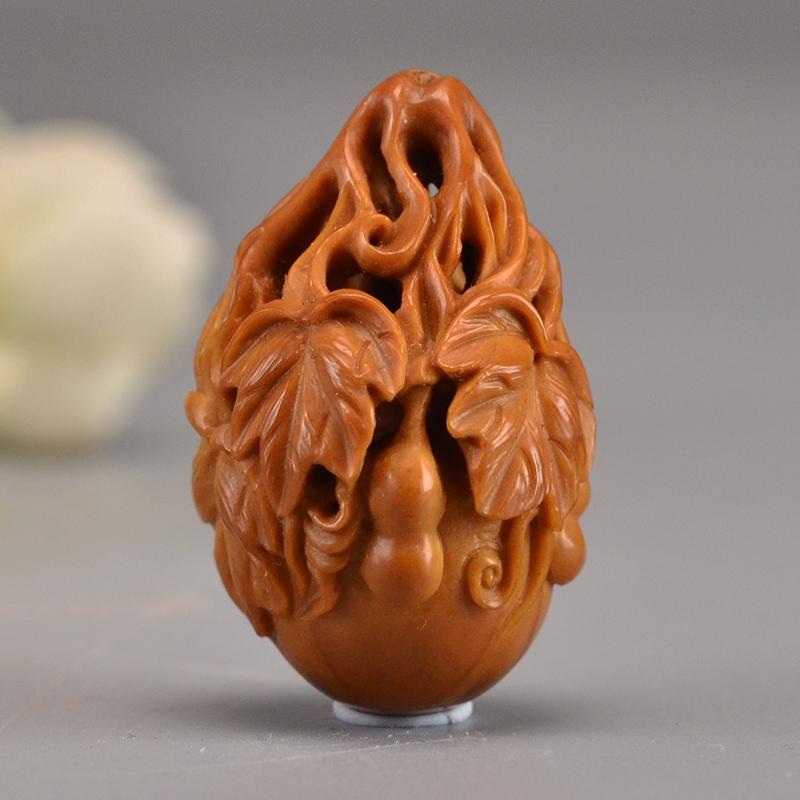 鸿木斋 橄榄核雕刻葫芦单籽吊坠把件孤品G285 (1).JPG