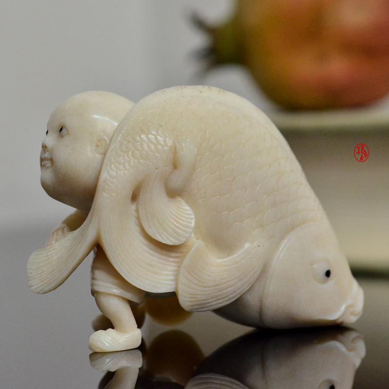 鸿款雕刻鹿角盘《年年有大鱼》艺术把件案头雅玩手作孤品LJ07 (4).JPG