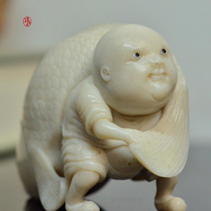 鸿款雕刻鹿角盘《年年有大鱼》艺术把件案头雅玩手作孤品LJ07 (8).JPG