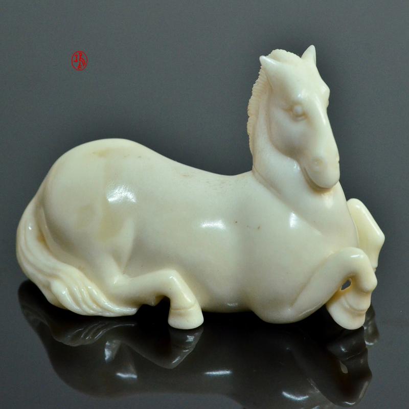 鸿款雕刻鹿角盘《白马》艺术把件案头雅玩手作孤品LJ08 (7).JPG