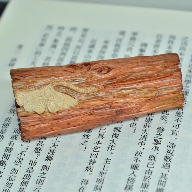 海南黄花梨雕刻银杏镇纸把件小摆件孤品H7237 (1).JPG