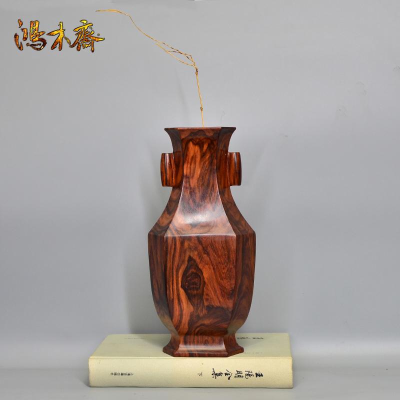 鸿木斋 海南黄花梨大摆件六方贯耳瓶 H7161(6).JPG