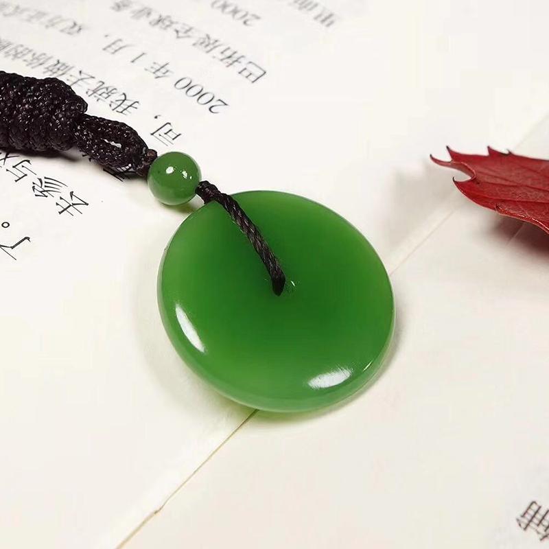 鸿木斋 和田雕刻 和田碧玉苹果绿平安扣吊坠 孤品HTY803 (2).jpg