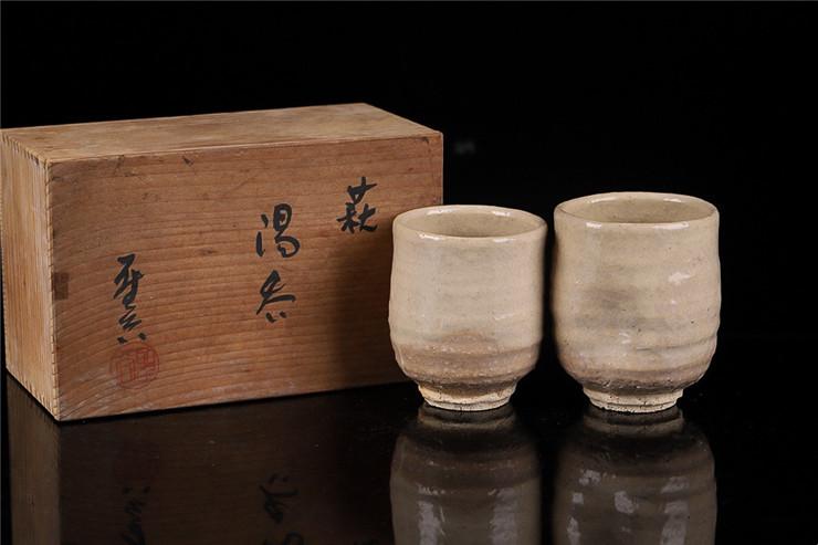 鸿木斋 日式茶具 日本回流萩烧圣谷作品茗杯主人杯 孤品CJ166 (5).jpg
