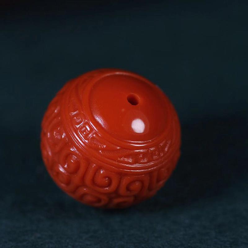 鸿木斋 南红单珠 天然瓦西柿子红南红回纹珠 孤品N3759 (3).jpg