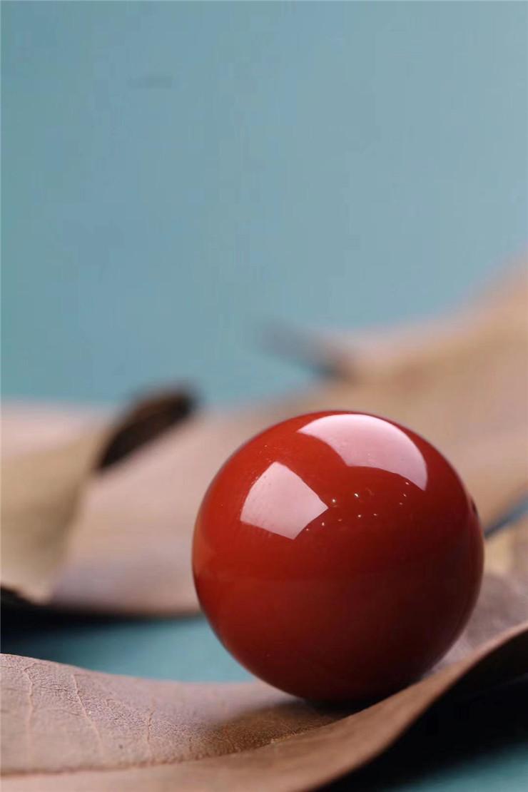 鸿木斋 南红单珠 天然瓦西南红柿子红顶珠 孤品N3773 (6).jpg