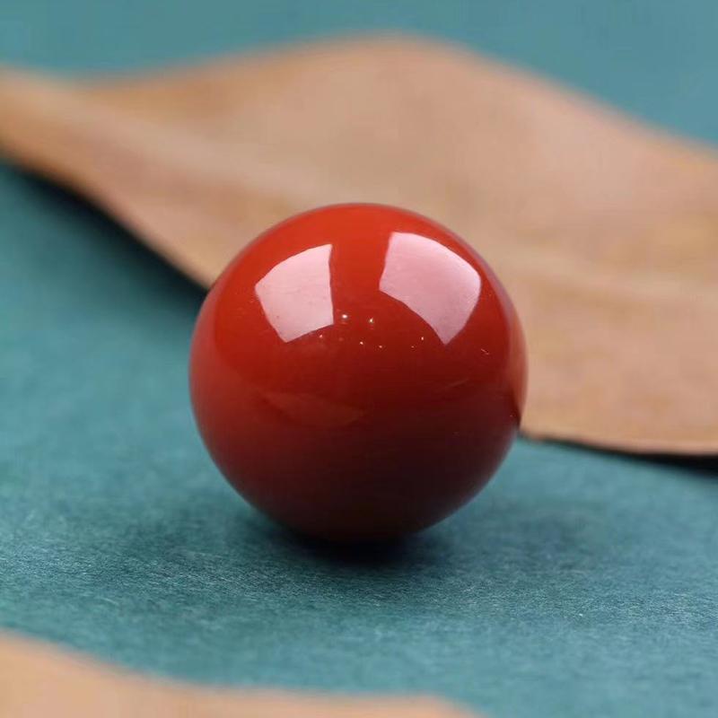 鸿木斋 南红单珠 天然瓦西南红柿子红顶珠 孤品N3773 (1).jpg