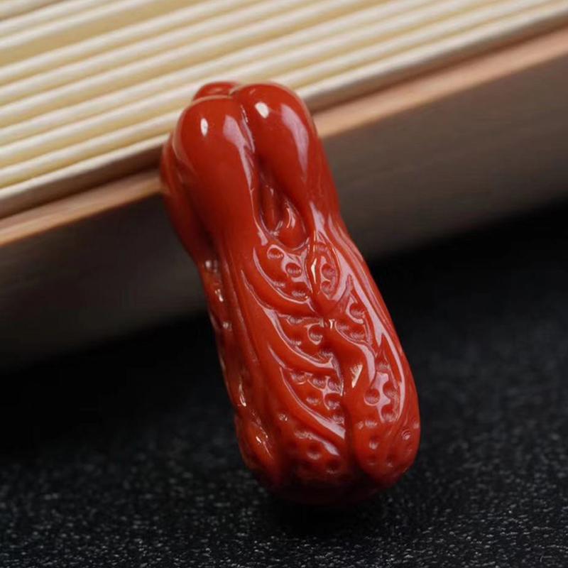 鸿木斋 南红雕刻 天然瓦西料南红百财挂坠 孤品N3772 (4).jpg