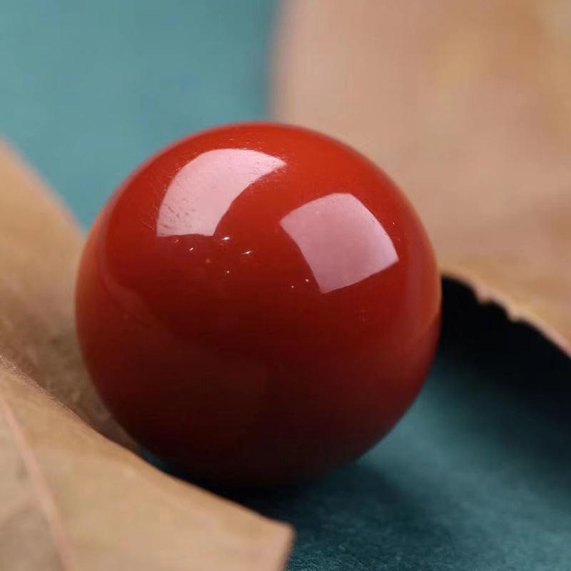 鸿木斋 南红单珠 天然瓦西南红柿子红顶珠 孤品N3773 (3).jpg