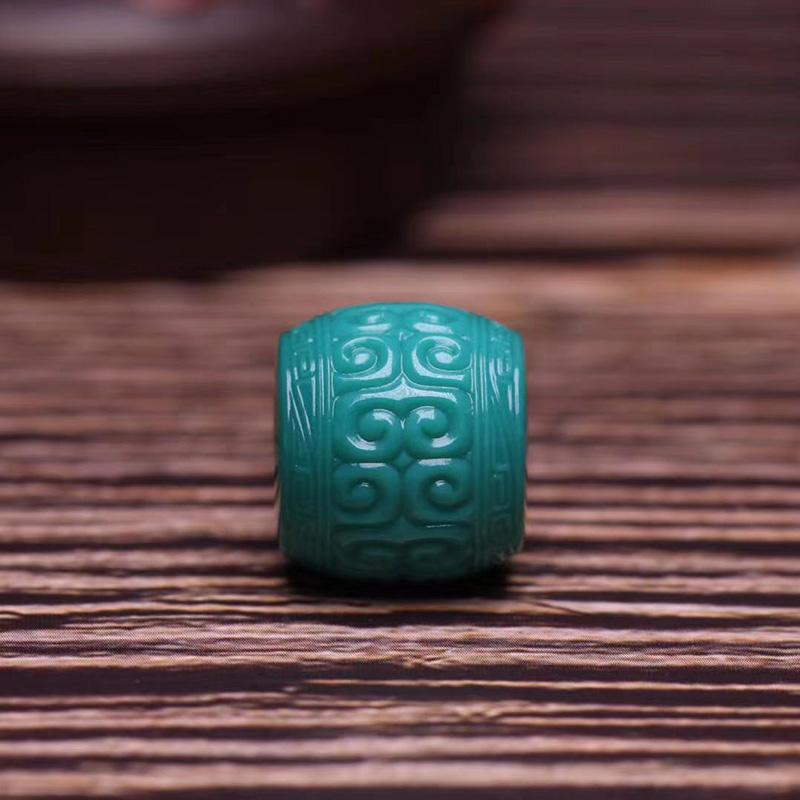 鸿木斋 松石顶珠 天然高瓷玉化料玻璃瓷松石回纹珠 孤品S1210 (1).jpg