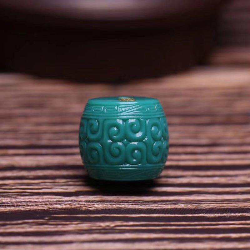 鸿木斋 松石顶珠 天然高瓷玉化料玻璃瓷松石回纹珠 孤品S1210 (4).jpg