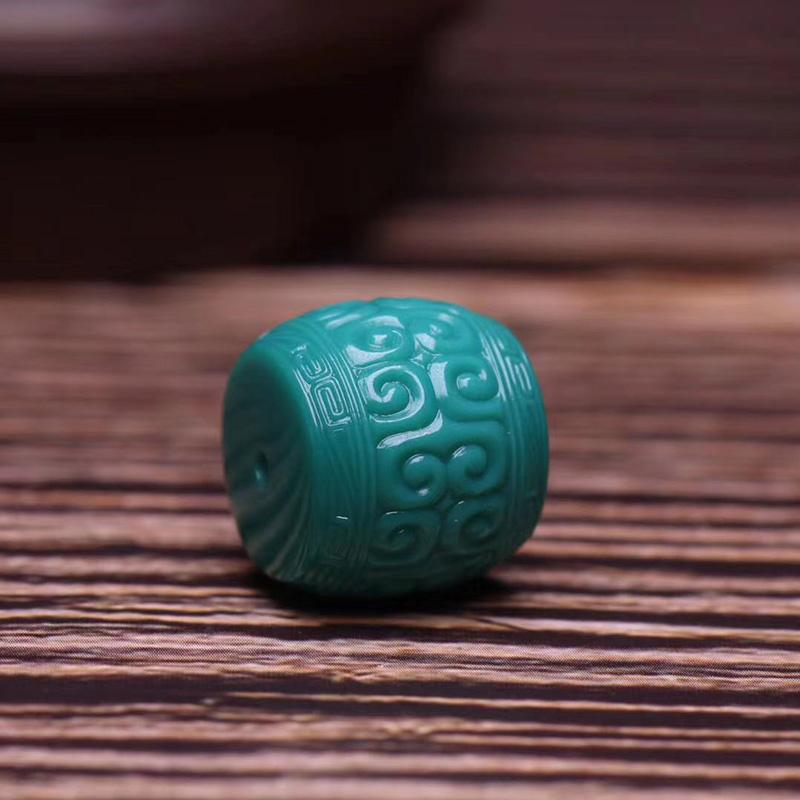 鸿木斋 松石顶珠 天然高瓷玉化料玻璃瓷松石回纹珠 孤品S1210 (3).jpg