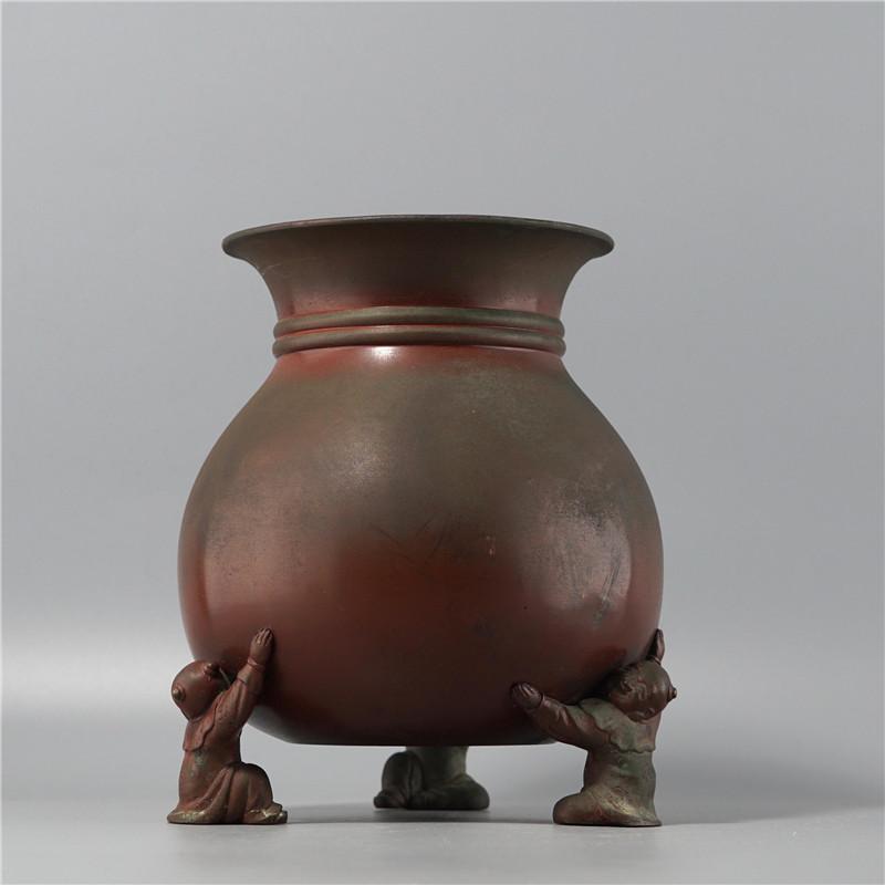 鸿木斋 日式摆件 日本回流童子足布袋形铜花瓶 孤品CJ292 (1).jpg