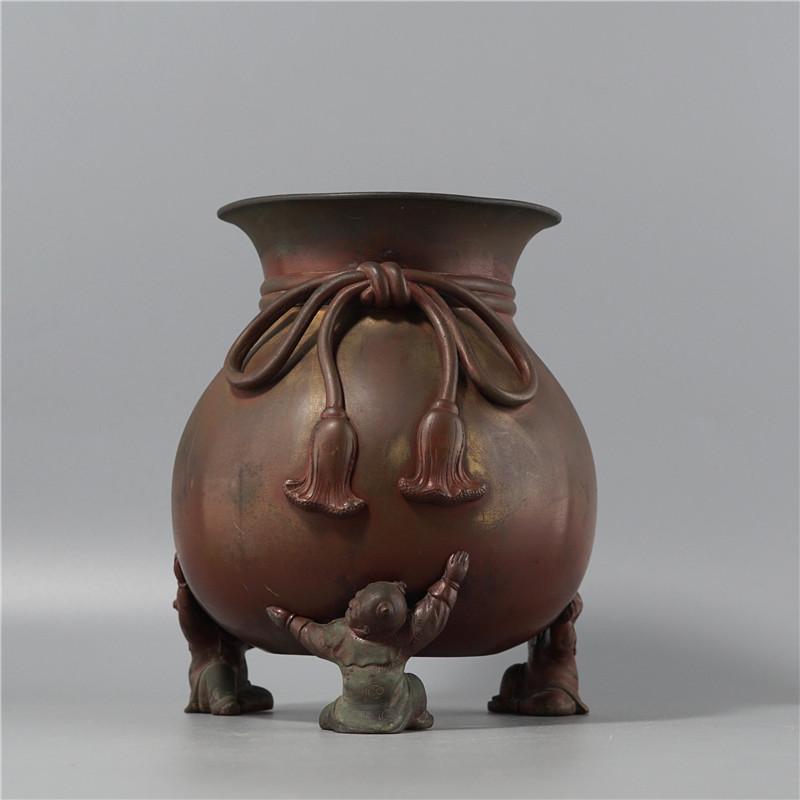 鸿木斋 日式摆件 日本回流童子足布袋形铜花瓶 孤品CJ292 (0).jpg