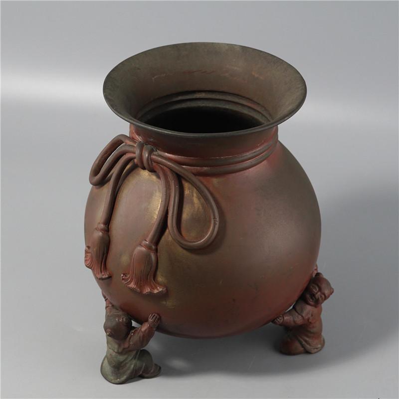 鸿木斋 日式摆件 日本回流童子足布袋形铜花瓶 孤品CJ292 (4).jpg
