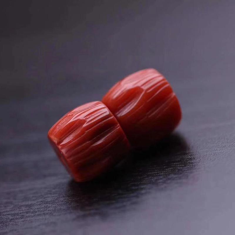 鸿木斋 南红散珠 天然瓦西料柿子红南红直切腰珠 孤品N3779 (0).jpg