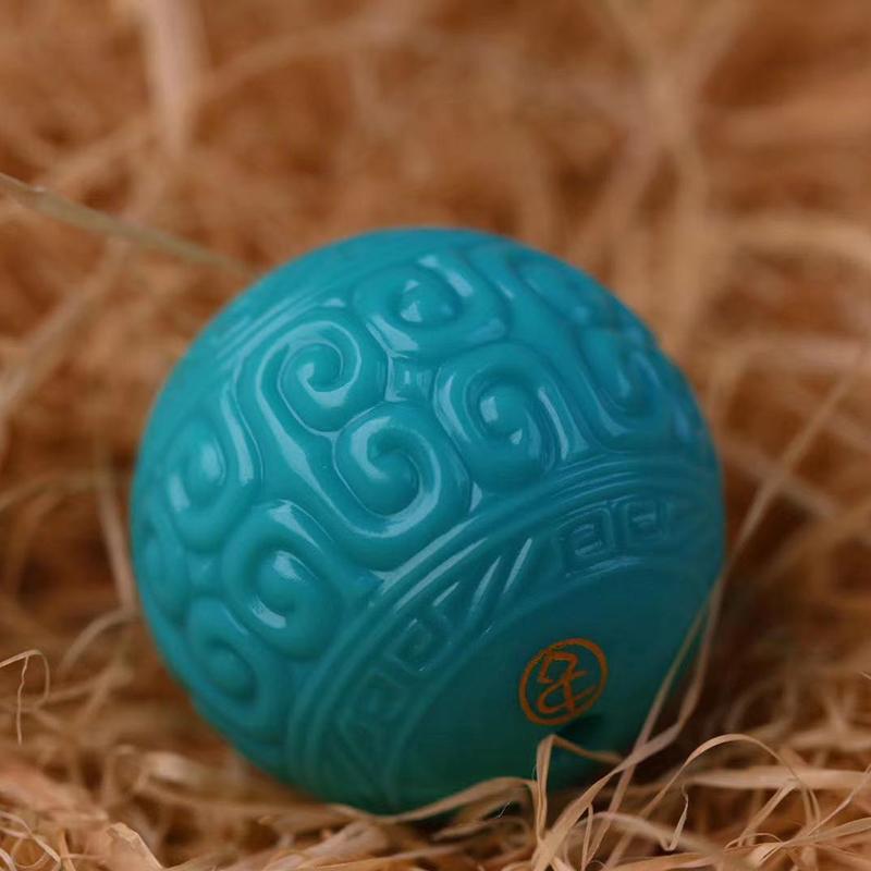 鸿木斋 松石顶珠 天然绿松石高瓷蓝回纹珠 孤品S1211 (1).jpg