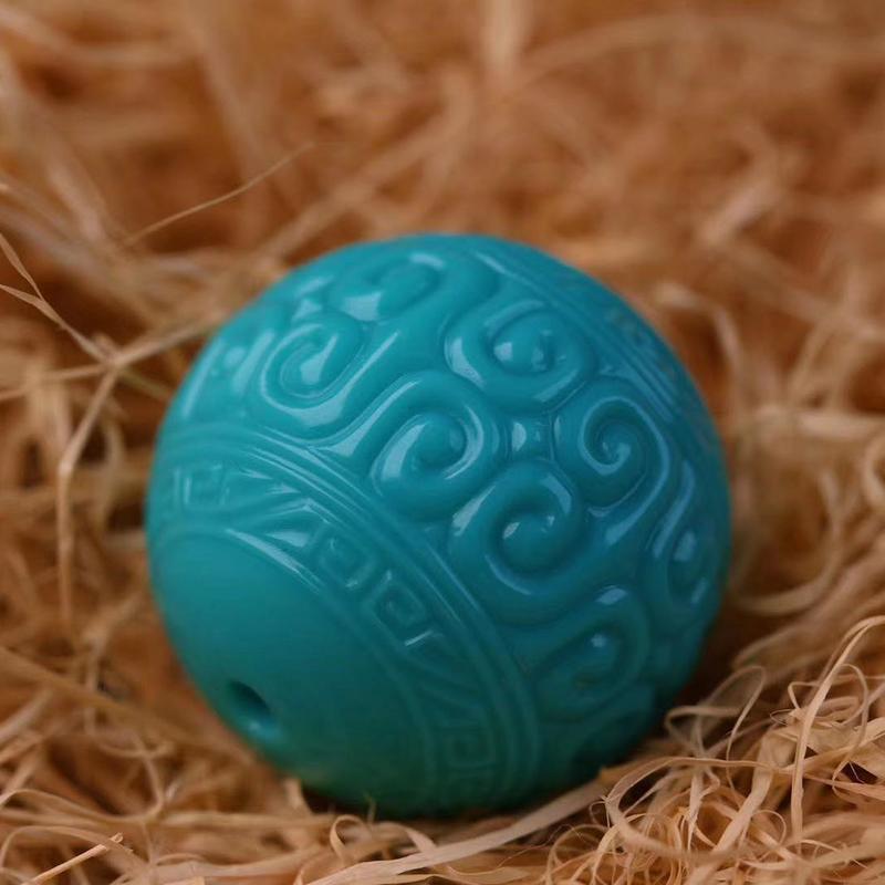 鸿木斋 松石顶珠 天然绿松石高瓷蓝回纹珠 孤品S1211 (2).jpg