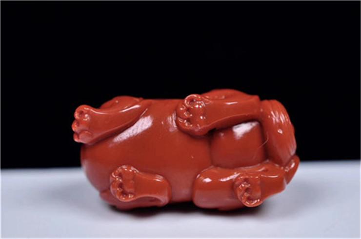 鸿木斋 南红雕刻 天然瓦西料南红望天吼手把件 孤品N3778 (6).jpg